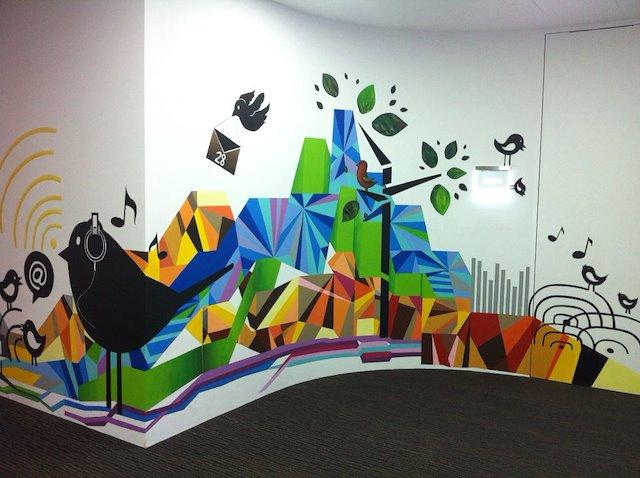 Kolorowy Mural w biurze
